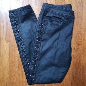 Cache coated black jeans with side lace up